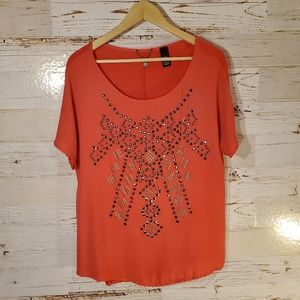 BKE Boutique studded short sleeve tee